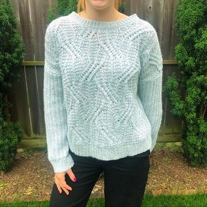 Light Blue Cable Knit Sweater